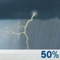Saturday: A chance of showers and thunderstorms.  Mostly cloudy, with a high near 82. Chance of precipitation is 50%.