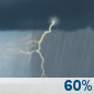 Tuesday: Showers and thunderstorms likely.  Mostly cloudy, with a high near 79. Chance of precipitation is 60%.